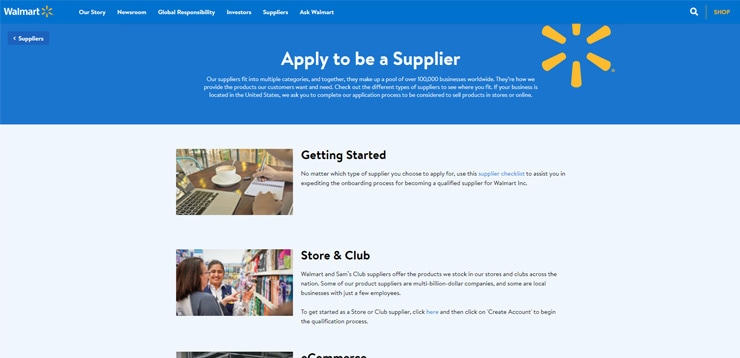Walmart Supplier Application