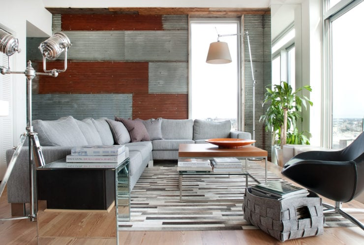accent wall from corrugated metal