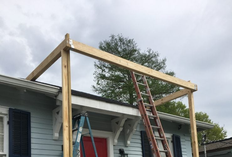 the installed top plate of a new roof for porch