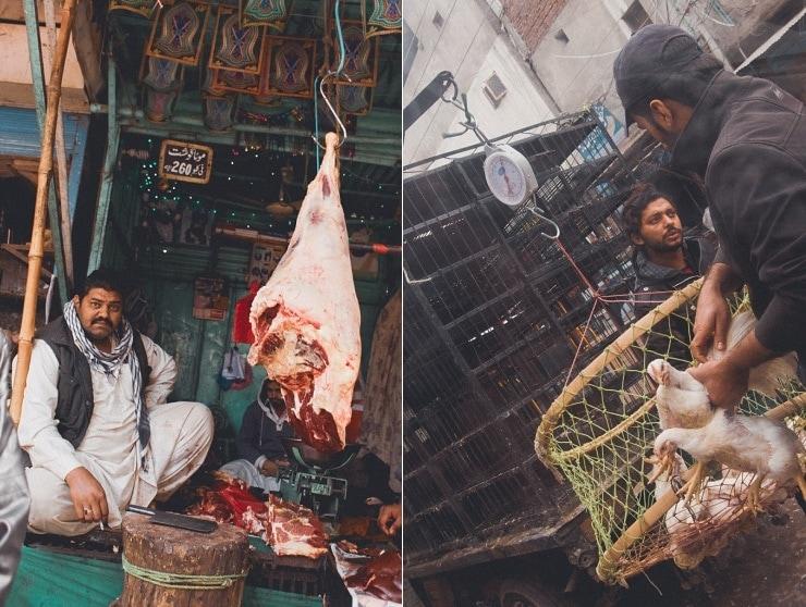 Tv: En af de mange slagtere i bazaaren. Th: Frisk levering til slagteren - eller måske direkte til kebabmanden.