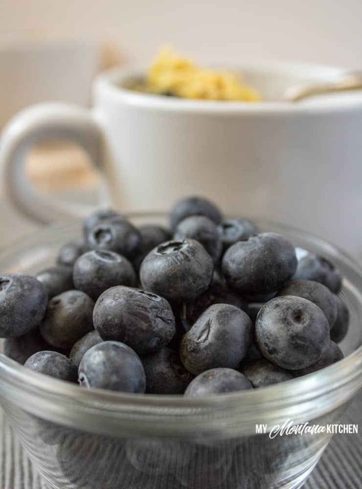 Blueberries are high in antioxidants, can help with weight loss, and can help improve brain function. Try this Low Carb Blueberry Muffin in a Mug Recipe and see just how delicious blueberries can be! #trimhealthymama #thm #lowcarb #glutenfree #sugarfree #blueberrymuffin #blueberries #muffininamug #mim #mymontanakitchen #lowcarbmuffin #dairyfree