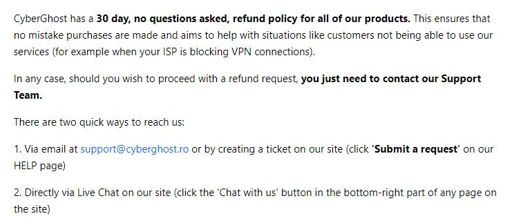 cyberghost refund policy