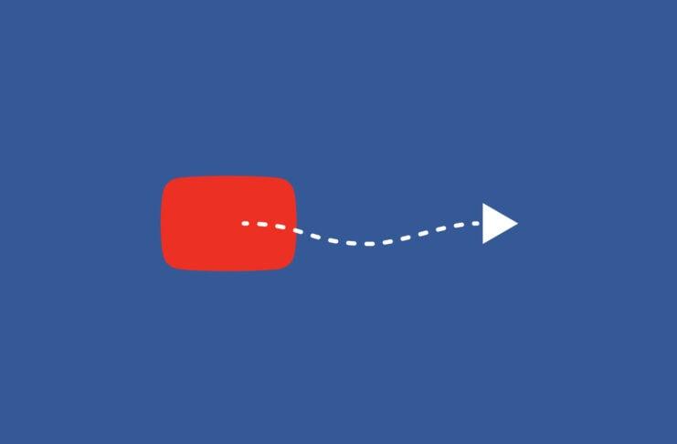YouTube logo with an arrow.