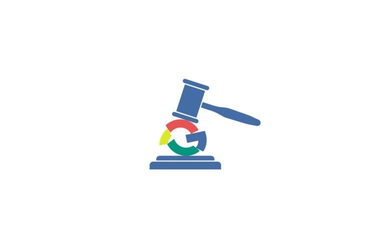 Google logo crushed under gavel.