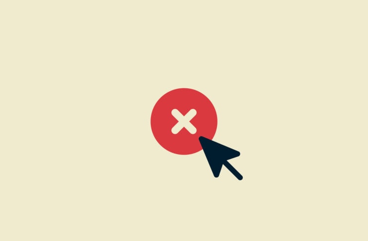 Red circle with cross and mouse cursor.