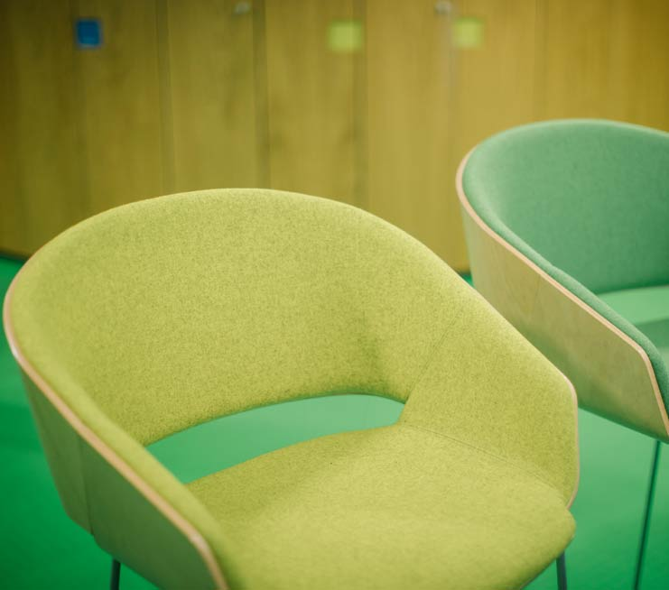 yellow and green chairs