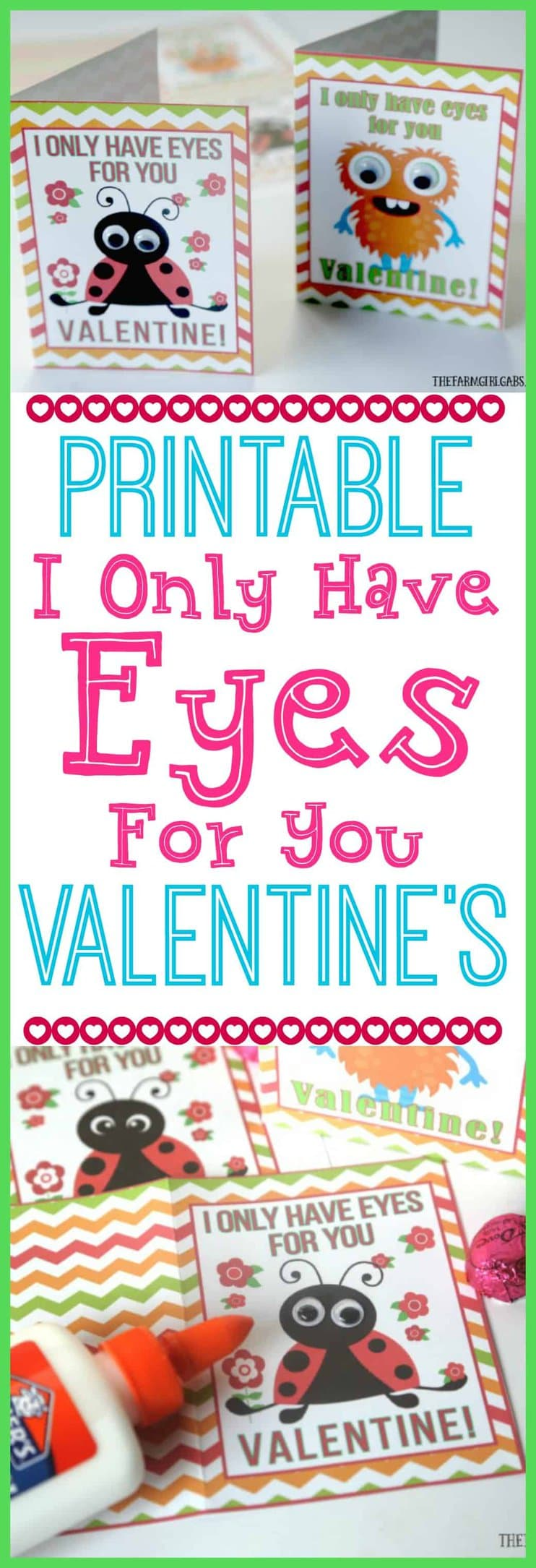 These Free printable I Only Have Eyes For You Valentine Cards are cuteness overload - an easy craft for kids and perfect to give to friends for Valentine's Day. #ValentinesDayCards #ValentinesDayCrafts #KidsCrafts #Printables #ValentinesDay