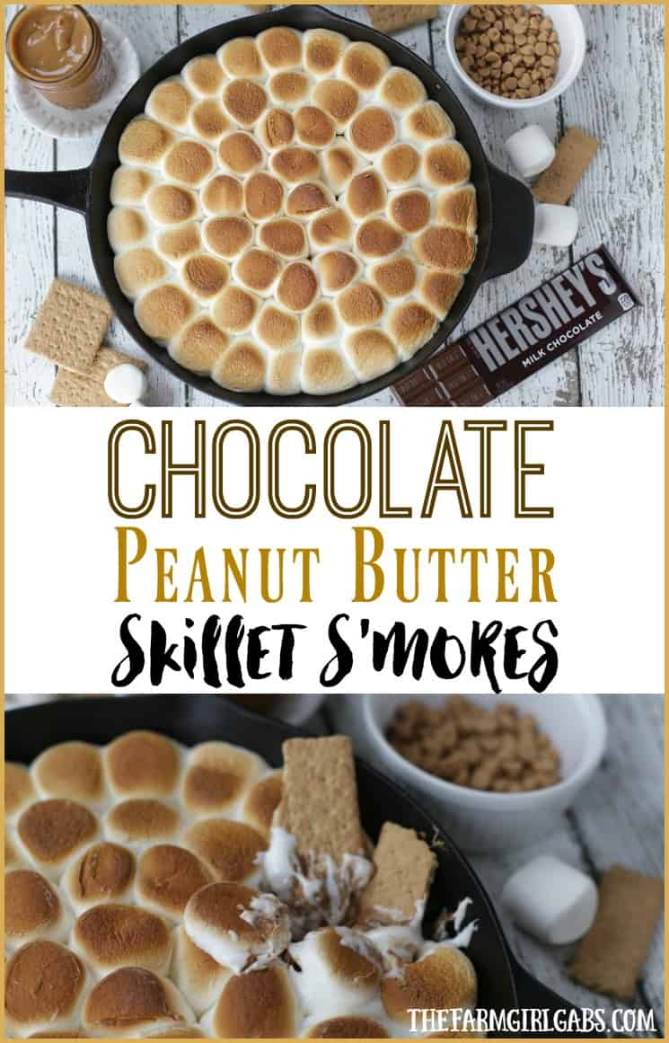 Chocolate Peanut Butter Skillet S'mores are an updated twist of the campfire classic s'mores recipe. This recipe has the perfect amount of chocolate and peanut butter.