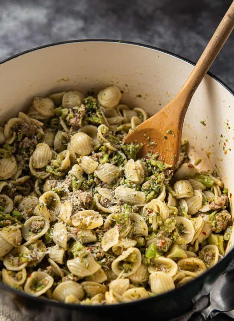 orechiette with broccoli in a dutch oven