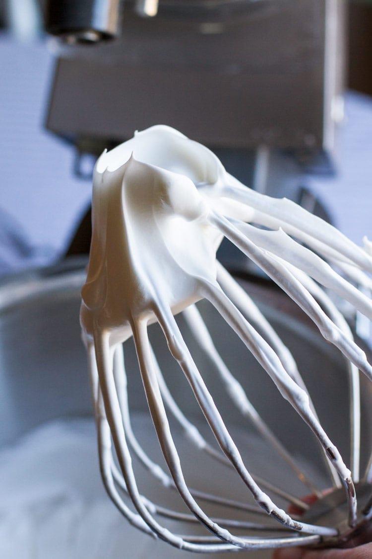 Whipped meringue for pavlova recipe or salted caramel macarons