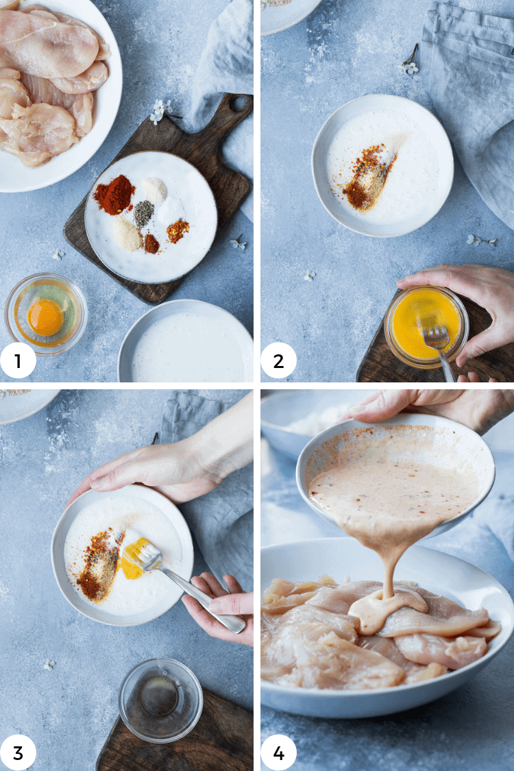 Step by step photos for chicken burger marinade