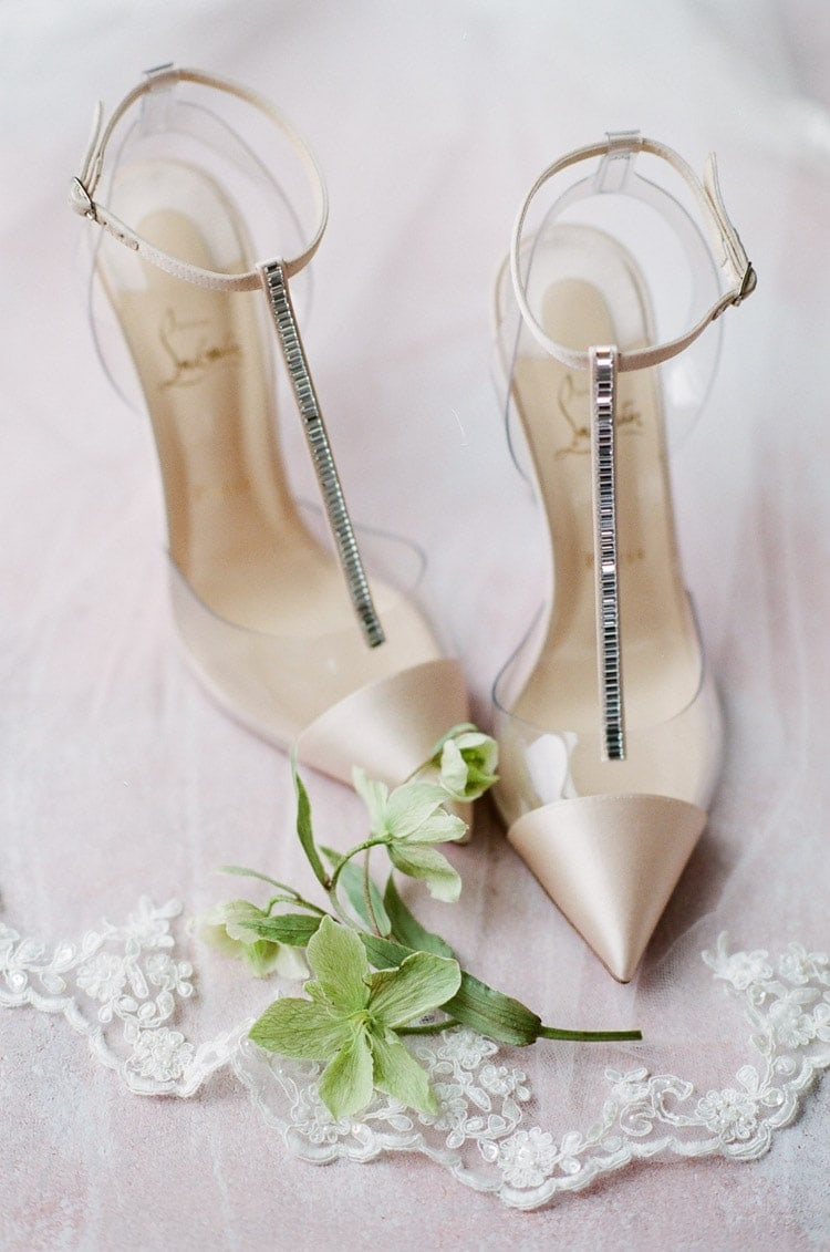 Blush and crystal shoes at a Munich elopement
