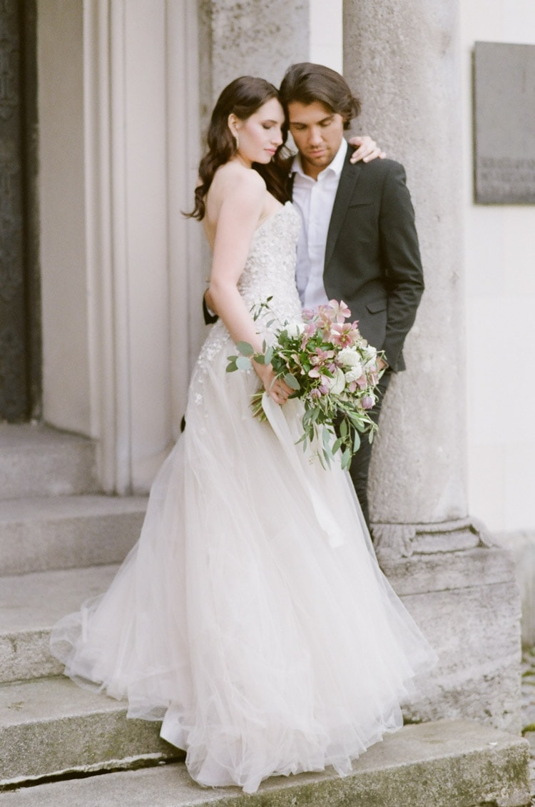 Portrait of a bride and groom at their intimate elopement in Munich Germany
