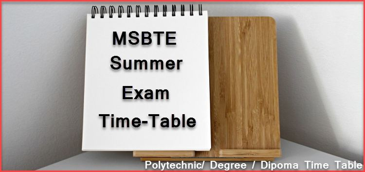 MSBTE Summer Exam Time Table Publish