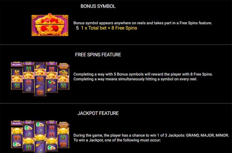 Royal Lotus Pokies Bonus