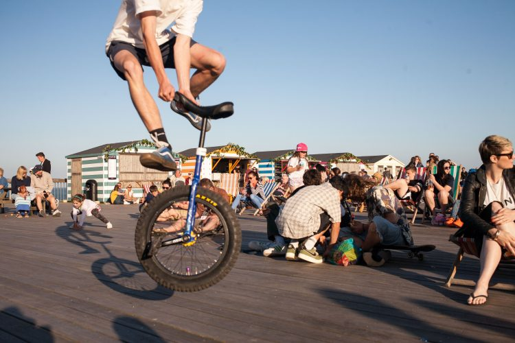 Unicycle, May Day, Hastings Pier