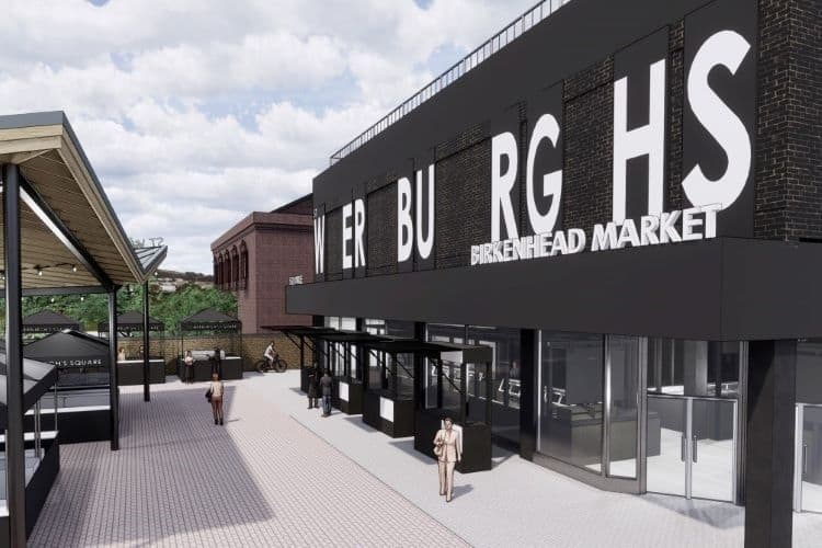 Images reveal new look temporary Market for Birkenhead town centre