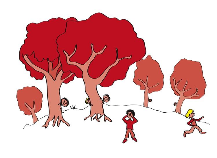 Illustration - Versteckspiel im Wald