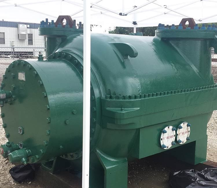 Green rebuilt multi stage compressor in storage area