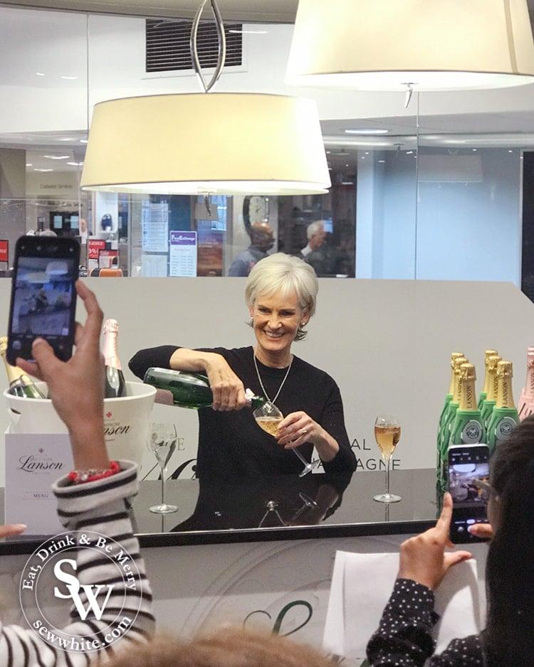 Judy Murray at the Lanson Champagne bar at Elys Wimbledon 2019