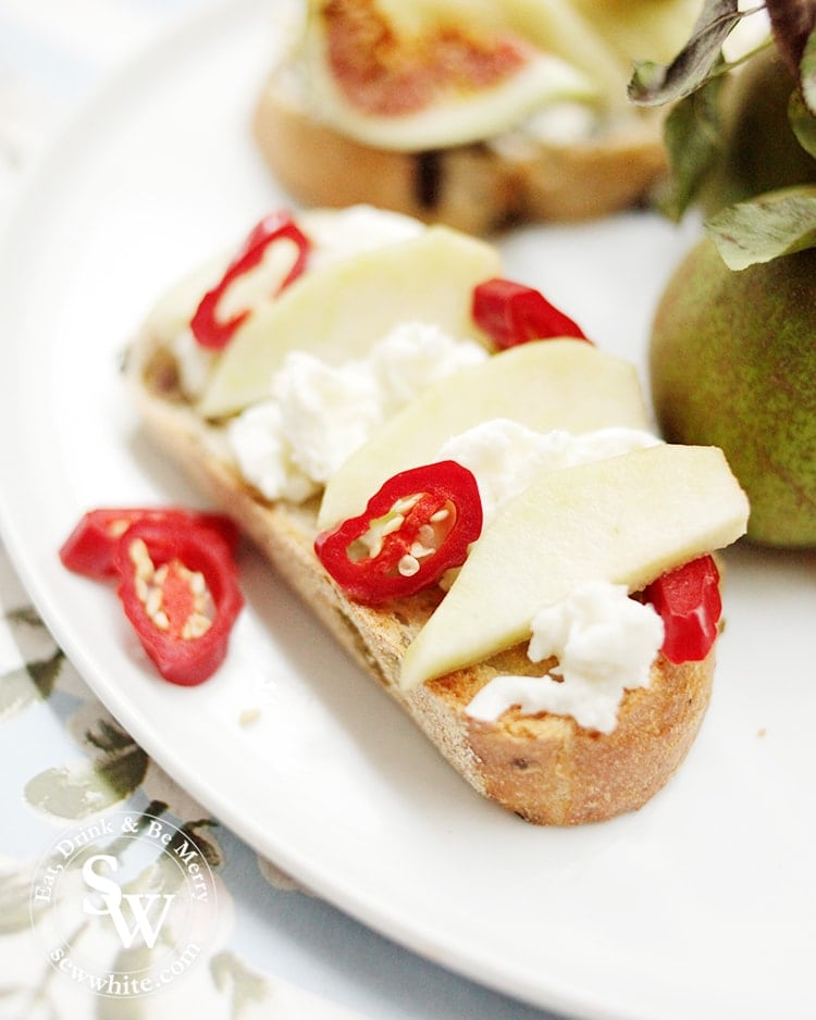 Pears on Toast - Mozzarella and Chilli. Drizzled with olive oil ready to eat.