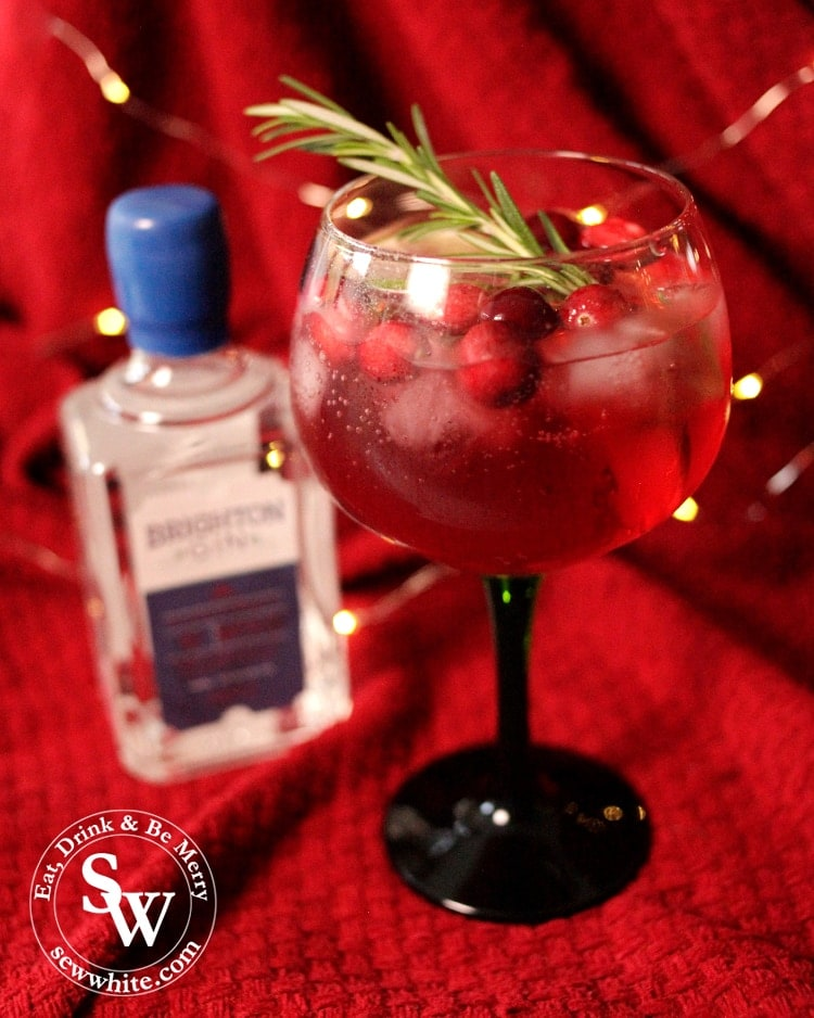 Christmas Cranberry Gin Cocktail made with Brighton Gin.