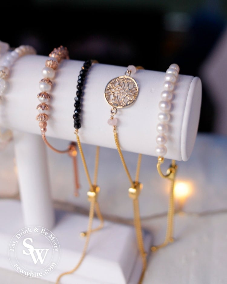 Beautiful jewellery with pearls and gold on a stall at Wimbledon Winter Wonderland
