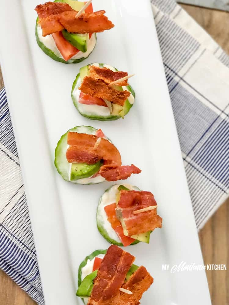 low carb blt bites on white plate