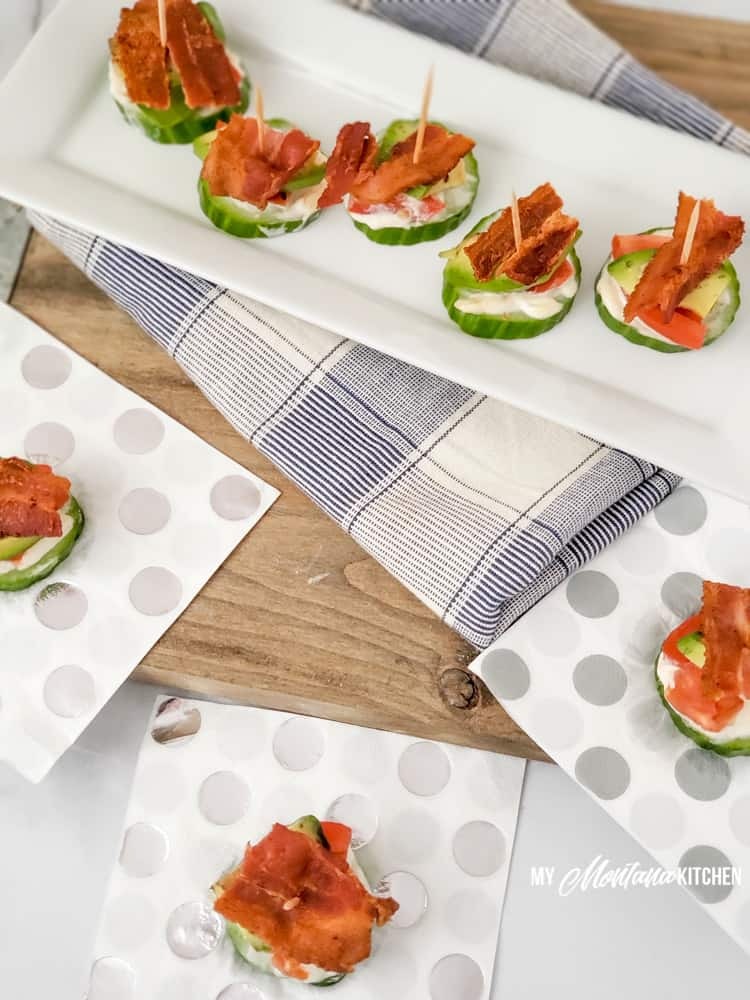 trim healthy mama blt bites on long white plate