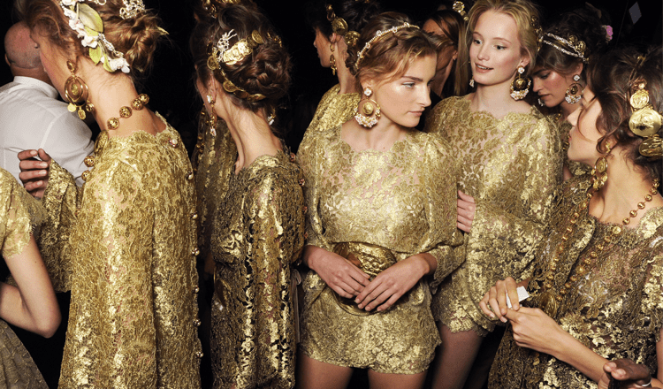 Backstage at Dolce & Gabbana Spring Summer 2014