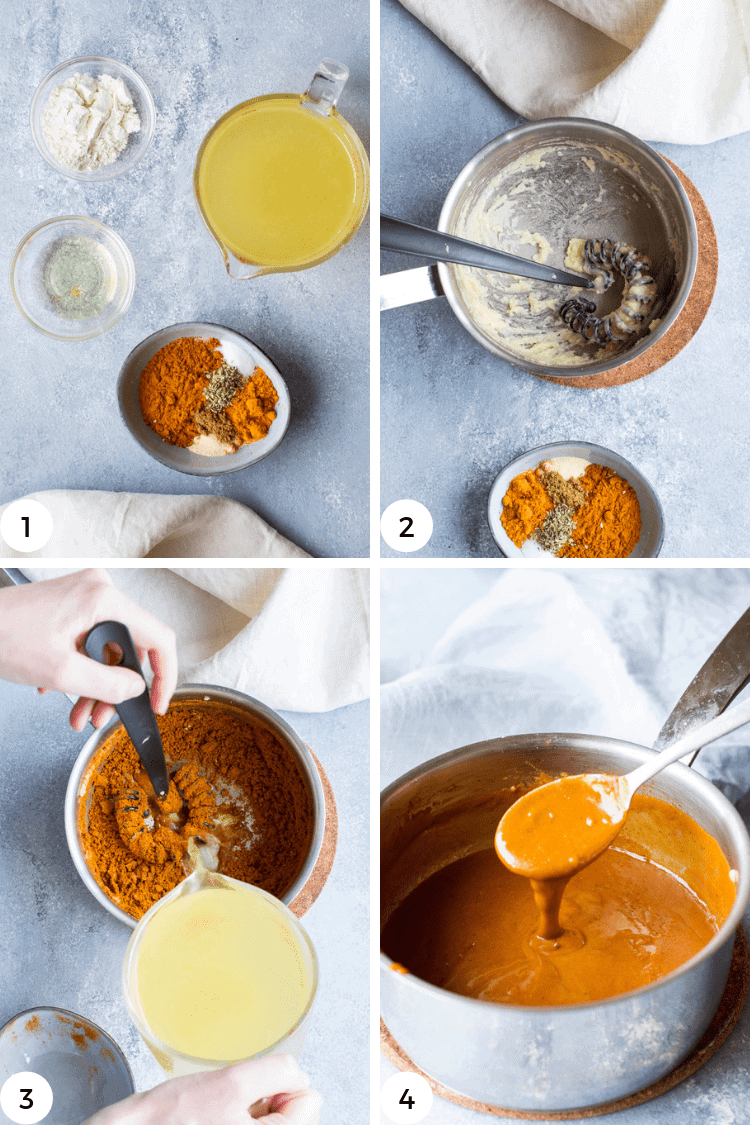 Step by step as to how to make enchilada sauce.