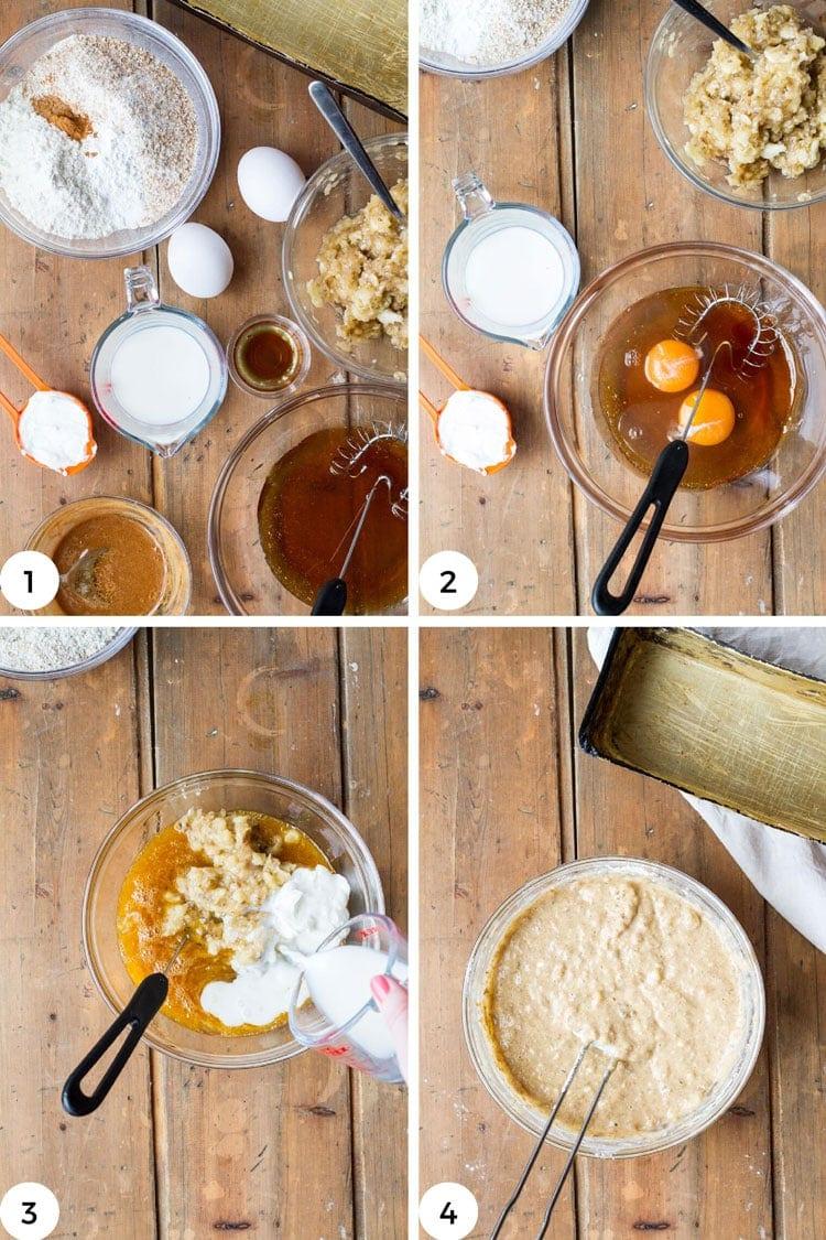 Steps to make banana bread batter.