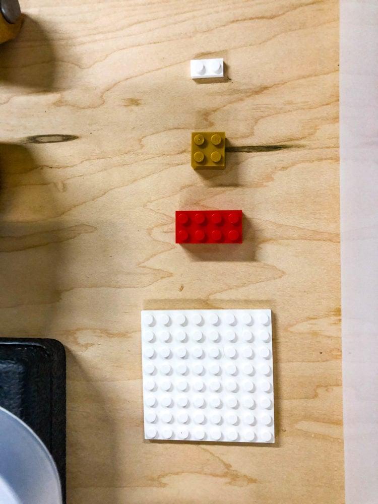 various LEGO brick sizes