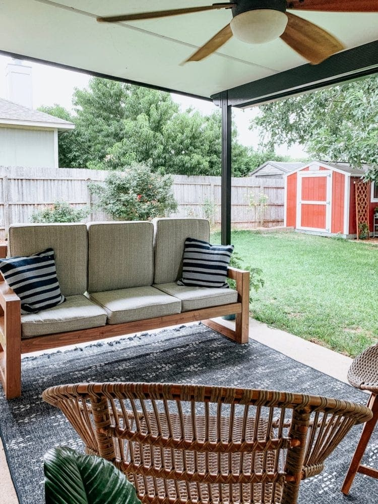 outdoor porch with DIY sofa
