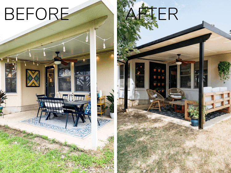 before and after of porch makeover