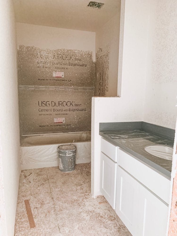 bathroom in a new construction home