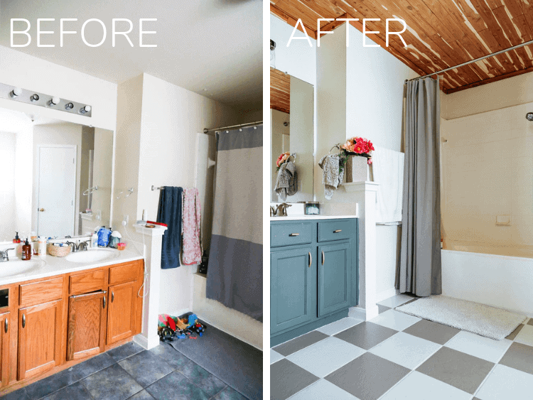 before and after of bathroom transformation