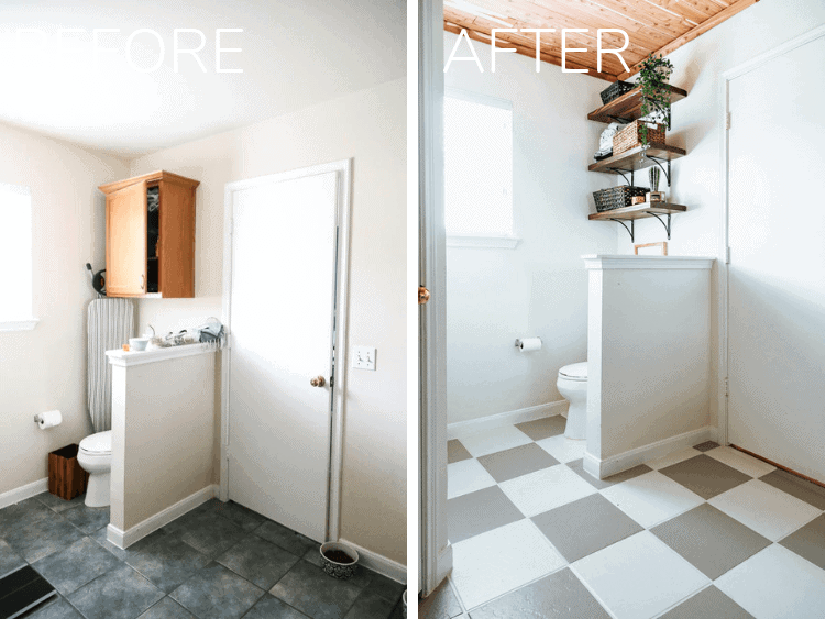 before and after of a master bathroom makeover