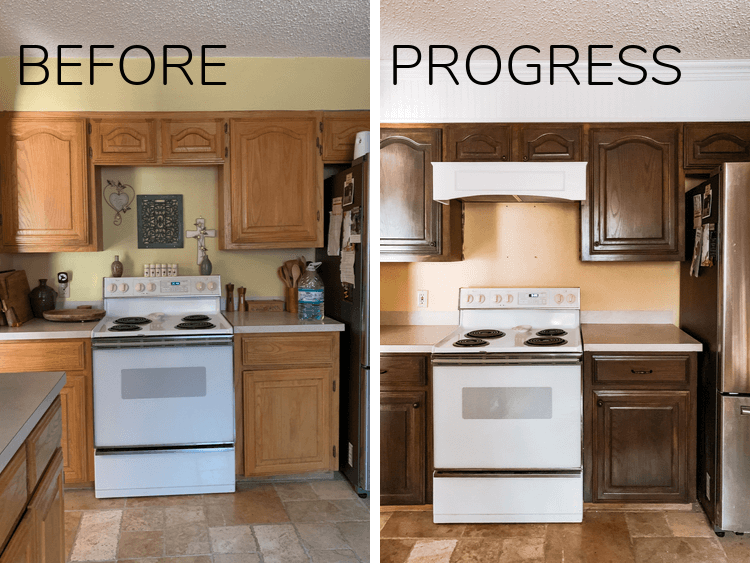 before and progress of kitchen refresh