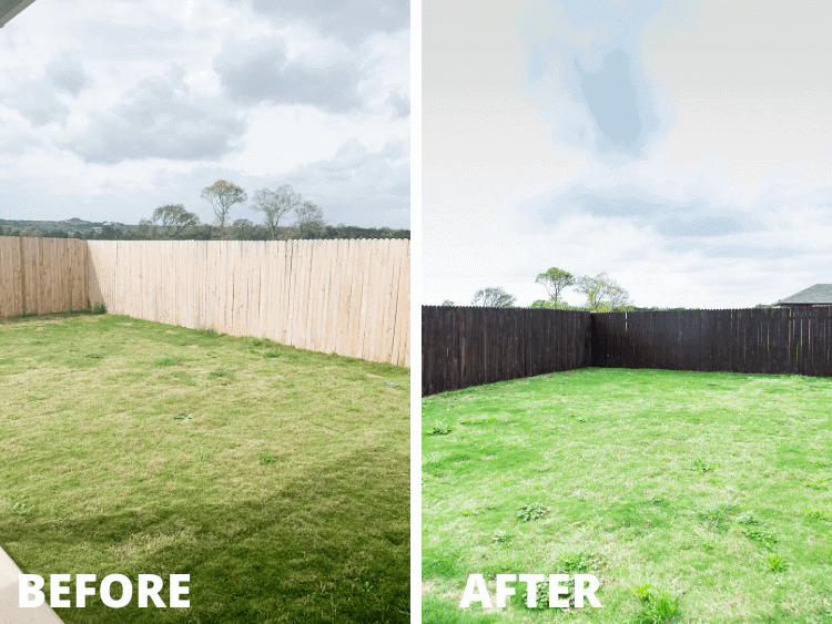 before and after of fence staining