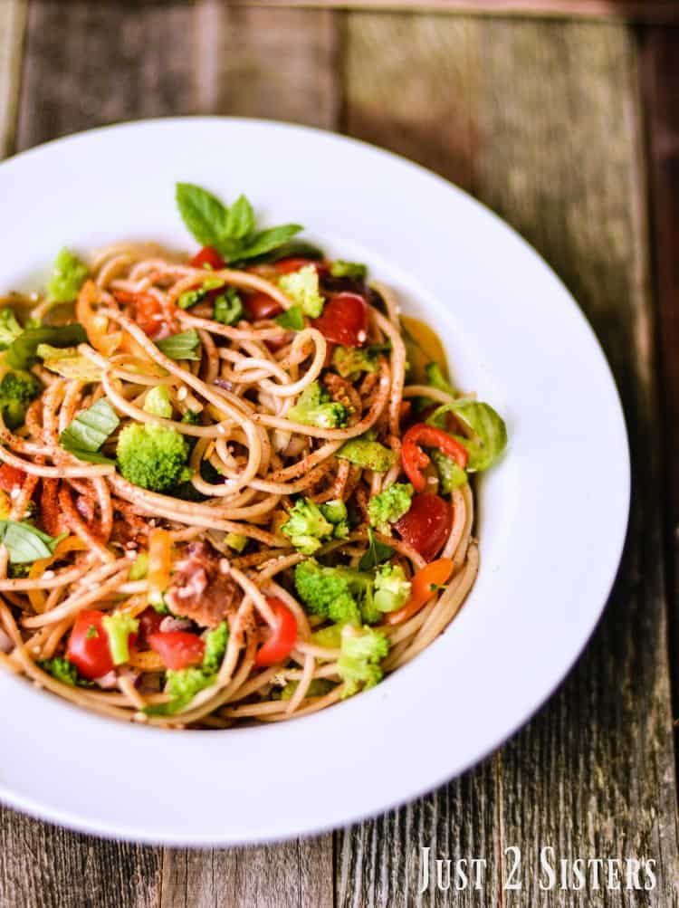 Spaghetti Salad is a great way to use up leftover pasta and vegetables.