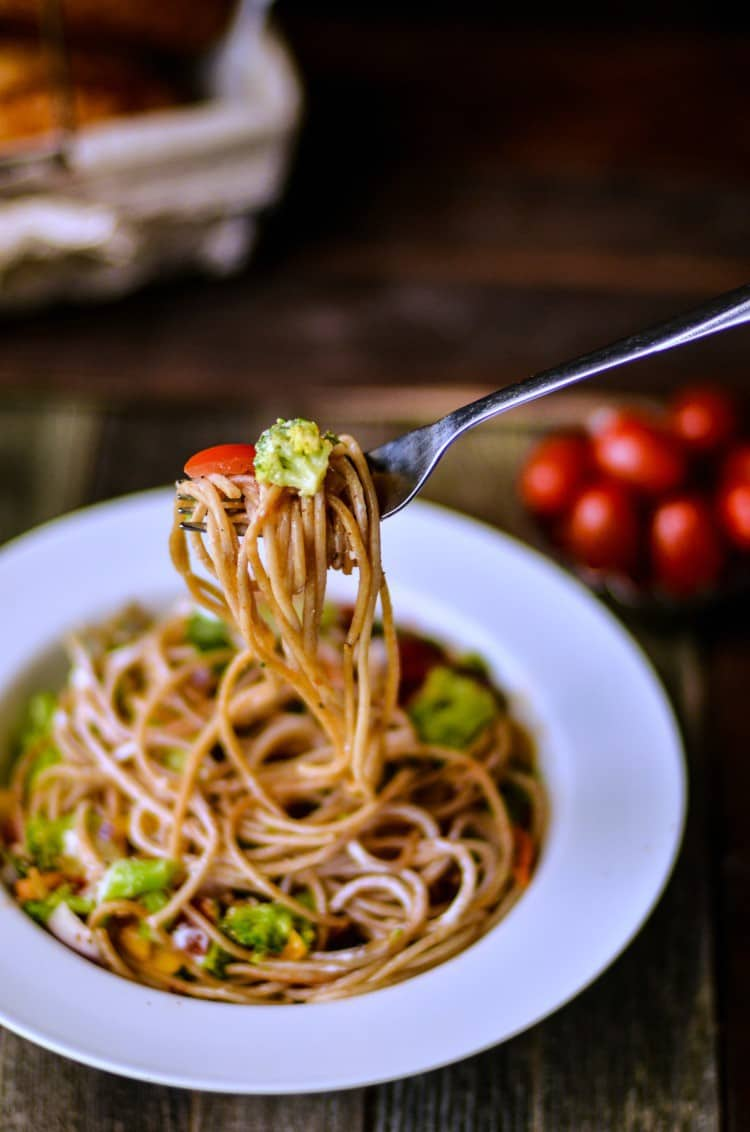 Spaghetti salad is an easy meal idea you can make out of planned overs