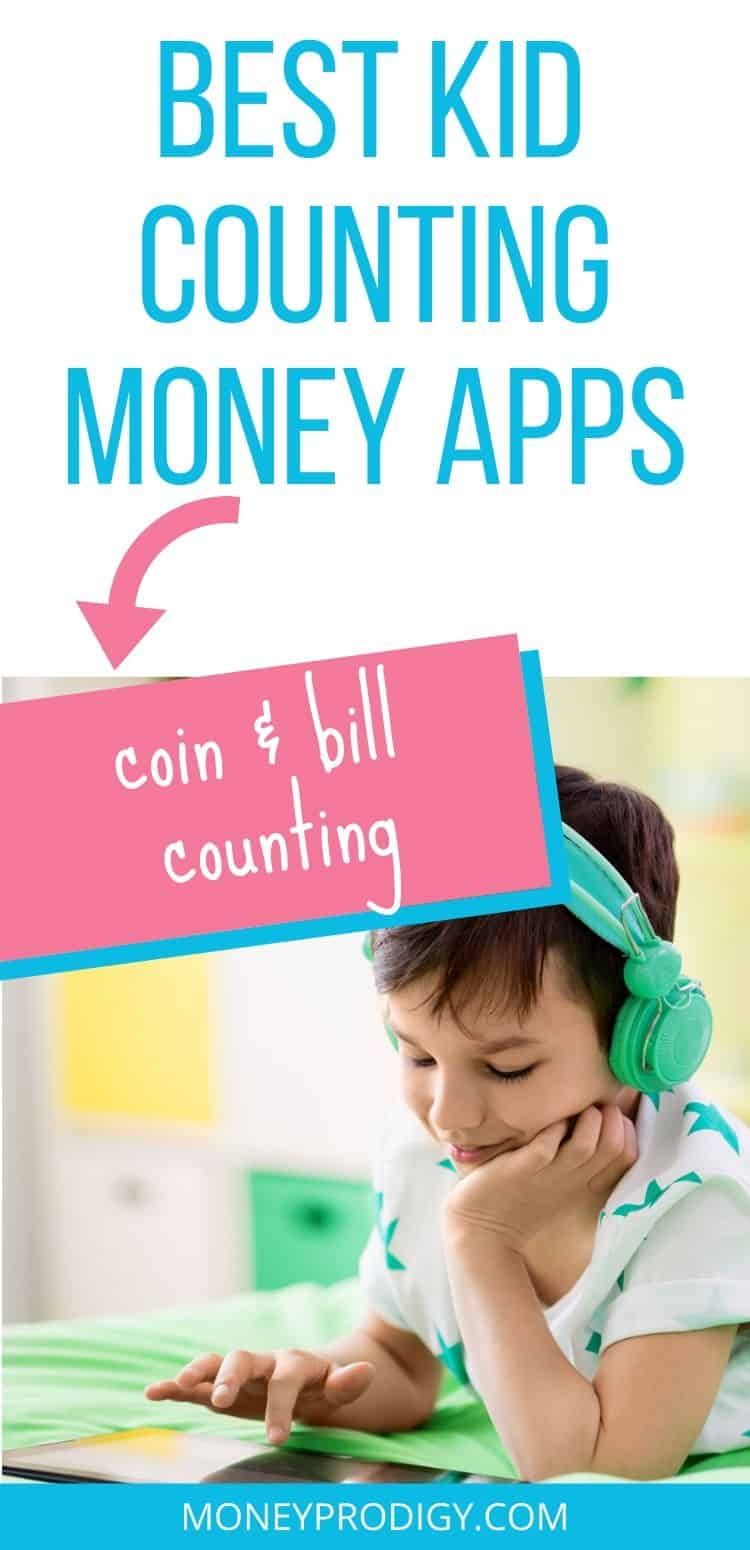 """image of kid using counting money apps on ipad, text overlay """"best kid counting money apps to learn coins and bills"""""""
