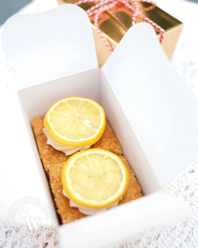 Gin and Lemon Tray Bake boxed and ready to be given as a gift