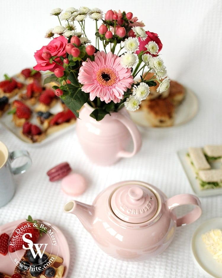 The glace collection at Le Creuset includes the beautiful teapot and chiffon pink jug.