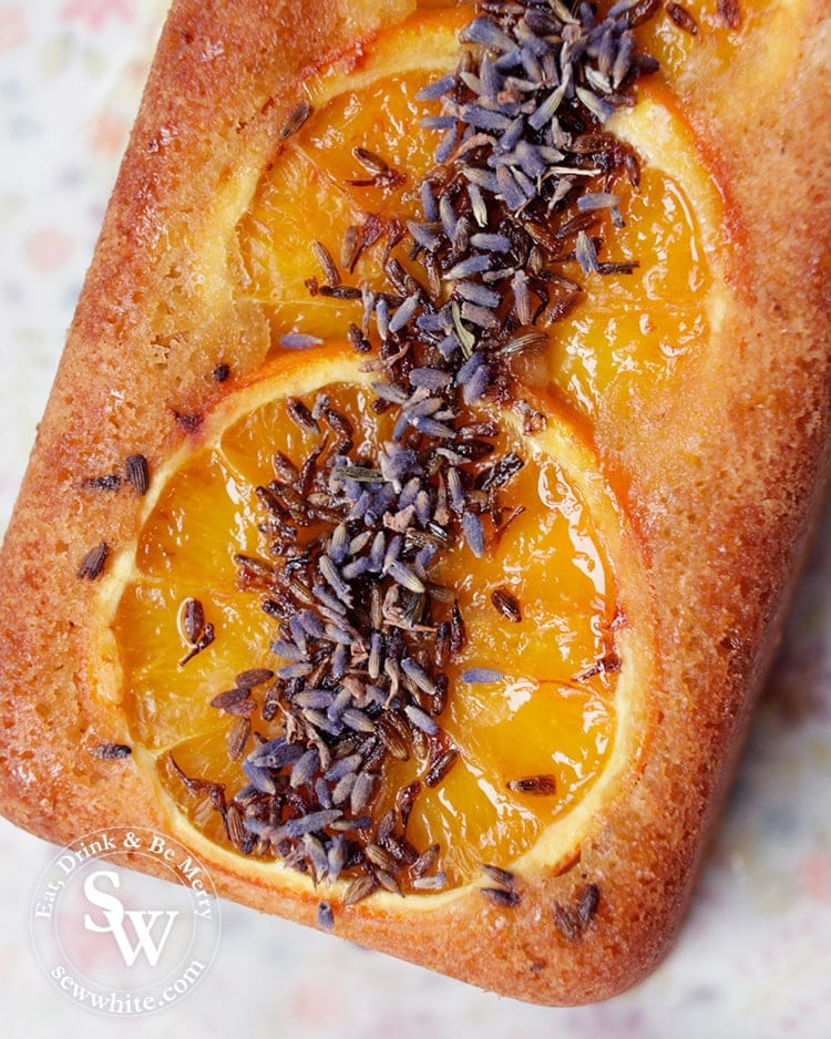 Close up of the lavender and orange slices on top of the Orange Lavender Loaf
