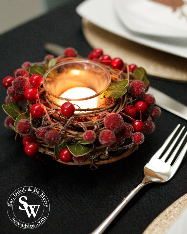 red berry candle holder from Harrods