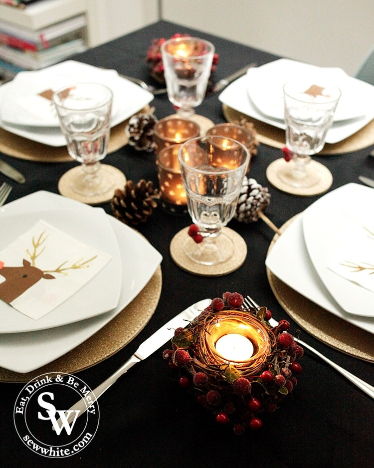 Black Gold and Red Christmas Table ready to be used. Christmas inspiration.