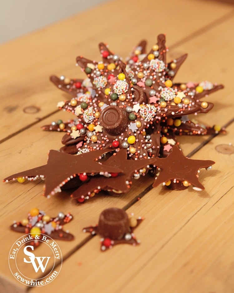Toppled over Chocolate Star Christmas Tree. Chocolate stars covered with sprinkles.