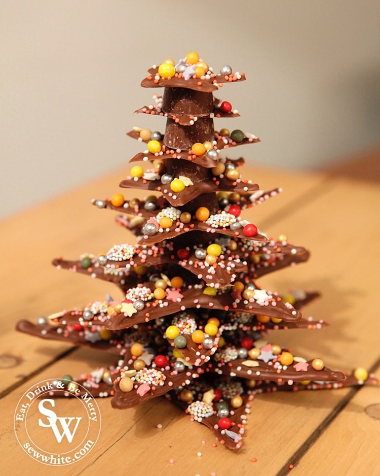 The finished Chocolate Star Christmas Tree made with chocolate and rolos to build up a Christmas tree.